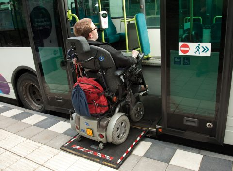 rolstoel, passagier, bus, Breng