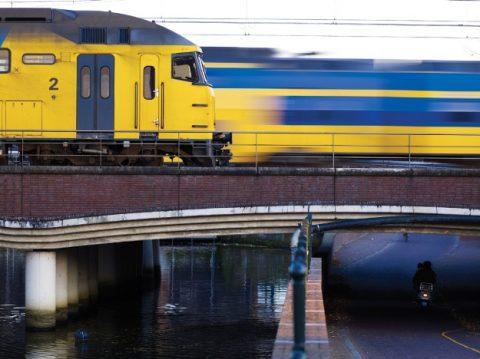 Treinen, passeren, brug, Eem,