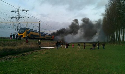 brand, trein, NS, Abcoude