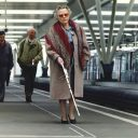 Slechtziende, blinde, perron, station