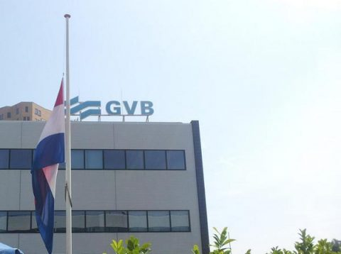 GVB, kantoor, vlag, halfstok