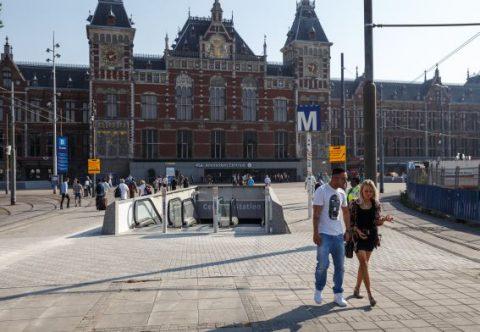 Ingang, metro, Centraal Station, Amsterdam