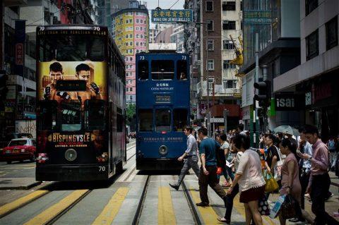 Tramlijn in Hongkong, China