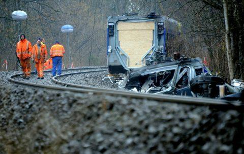 Treinbotsing Bad Aibling Duitsland, foto: ANP