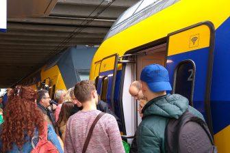 Drukte trein op Utrecht