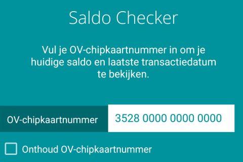 Saldo checker van OV-chipkaart bij Arriva