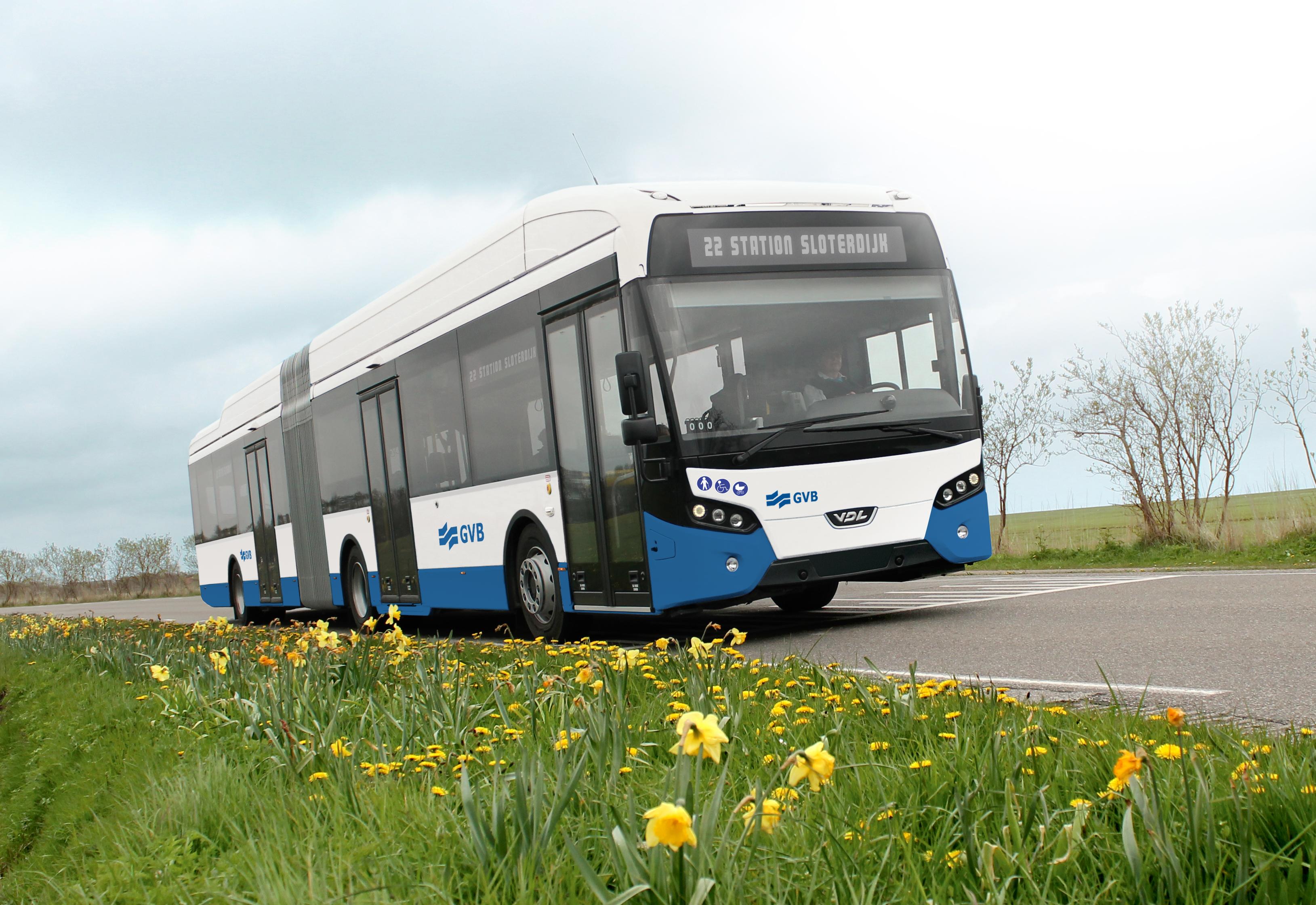 Impressie van elektrische bus van GVB