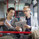 Reiziger in bus Noord-Brabant