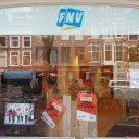 FNV-kantoor in Den Haag, posters voor beter pensioen