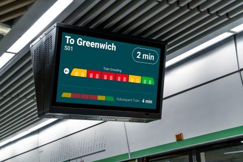 Informatie over drukte in een trein (bron: Thales)