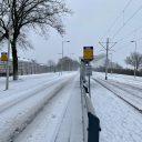 Tramhalte Rotterdam sneeuw