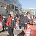 Protest tegen krimpplannen NS in Utrecht