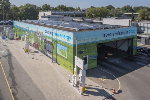 Waterstoftankstation Qbuzz Peizerweg Groningen (foto: OV-bureau Groningen Drenthe)